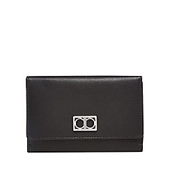 The Collection - Black leather medium flap over purse