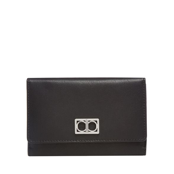 leather Collection medium Black over flap The purse 8EAwqA