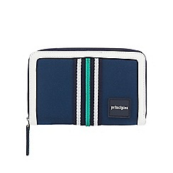 Principles - Navy canvas stripe medium zip around purse