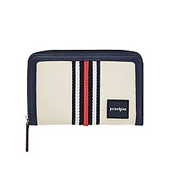 Principles - Natural canvas stripe medium zip around purse