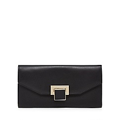 Principles - Black enamel lock large flapover purse