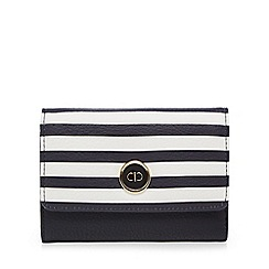 The Collection - Navy striped flap over medium purse