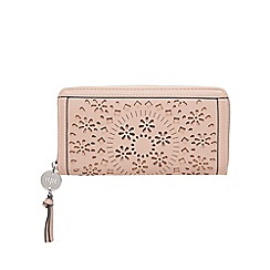 RJR.John Rocha - Light pink floral laser cut large zip around purse