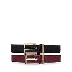 The Collection - Pack of 2 black and purple skinny belts