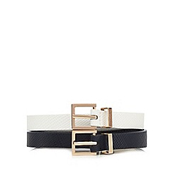 The Collection - Pack of two black and white cross hatch skinny belts