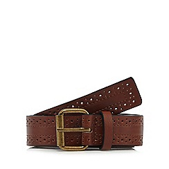 The Collection - Dark tan brogue detail belt