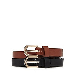 Mantaray - Pack of two black and brown knot detail belts