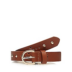 Mantaray - Tan studded slim belt