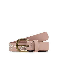 Red Herring - Pink embroidered skinny belt