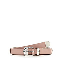 Red Herring - Light pink hammered large stud skinny belt