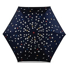 Radley - Navy printed 'To The Letter' mini telescopic umbrella