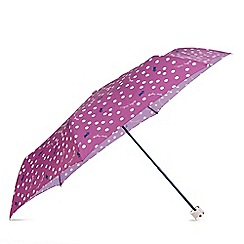 Radley - Pink printed 'Vintage Dog Dot' mini telescopic umbrella