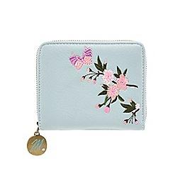 Mantaray - Light blue floral embroidered medium zip around purse