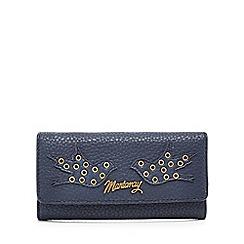 Mantaray - Navy eyelet detail large flapover purse