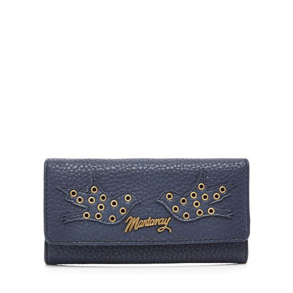 Mantaray Navy large purse eyelet flapover detail wgwOA