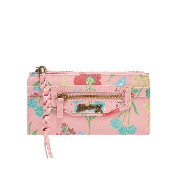 Pink zip top floral purse large Mantaray dETqfdyU