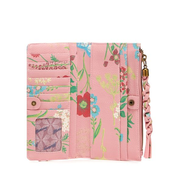 zip Pink floral purse large top Mantaray E14dw7qzq