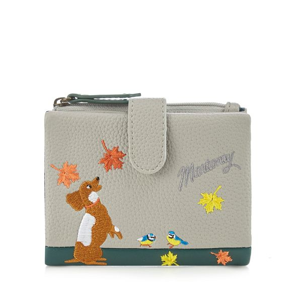 embroidered Mantaray purse leaf and dog Grey ppw8TYI