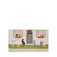 Mantaray - Cream cat and cottage embroidered purse