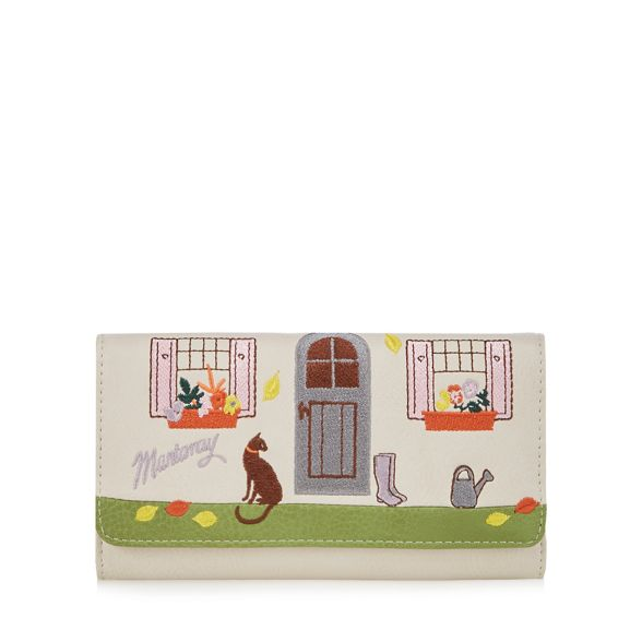 purse Mantaray cat embroidered cottage Cream and awfwXCq
