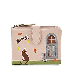Mantaray - Pink cat and cottage embroidered purse