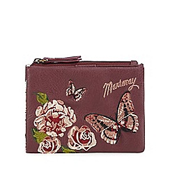 Mantaray - Dark pink floral embroidered medium flap over purse