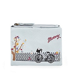 Mantaray - Light blue bicycle embroidered medium flap over purse