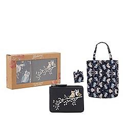 Mantaray - Navy owl coin purse and foldaway bag set