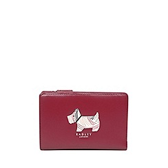 Radley - Red leather 'Fenchurch Dog' medium zip-top purse