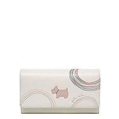 Radley - White leather 'Fenchurch Circle' large flapover matinee purse