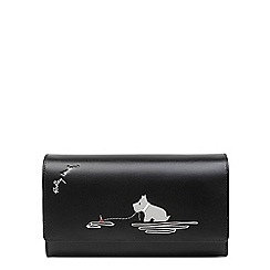 Radley Black Leather Fenchurch Fishing Large Flapover Matinee Purse