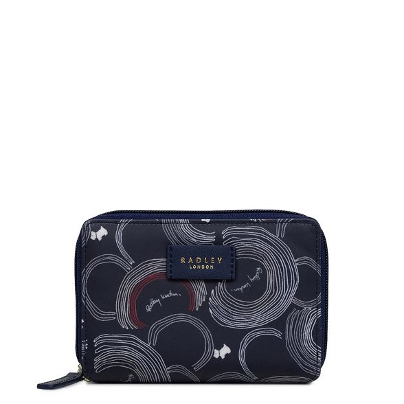 medium Street' Radley purse billfold Navy printed 'Fenchurch qtSSvIw