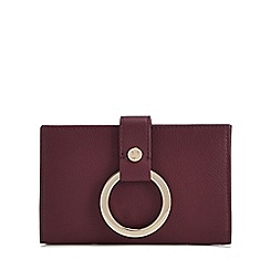 RJR.John Rocha - Plum leather ring detail medium purse