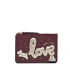 Radley - Wine Leather 'Love Is In The Air' Small Card Holder and Coin Purse