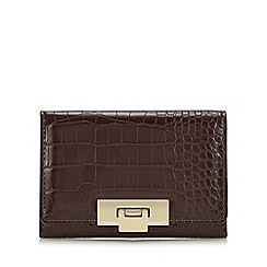 J by Jasper Conran - Dark brown croc-effect medium purse