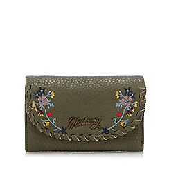 Mantaray - Khaki whipstitch floral embroidered purse