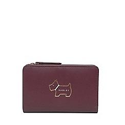 Radley - Wine Leather 'Heritage Dog' Medium Zip-top Purse