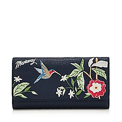 Mantaray - Navy Floral Embroidered Large Flap Over Purse