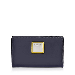 Principles - Navy patent fold-over wallet