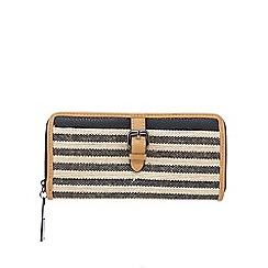 J by Jasper Conran - Navy stripe zip-around wallet
