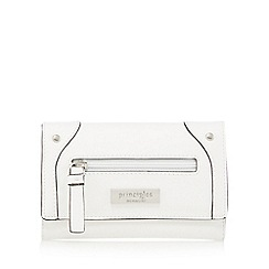 Principles - White front zip fold over purse