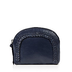 The Collection - Navy leather applique   disc coin purse