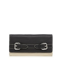 The Collection - Black leather colour block double buckle detail purse