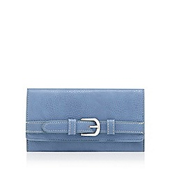 The Collection - Light blue flap-over buckle wallet