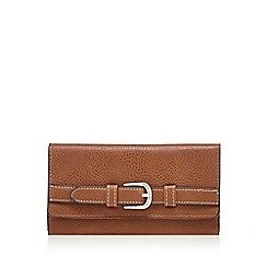 The Collection - Tan flap over buckle wallet
