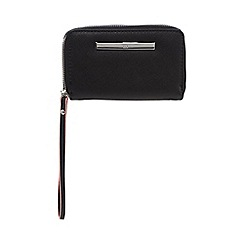Red Herring - Black double zip wristlet