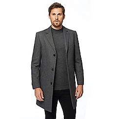 The Collection - Big and tall grey textured Epsom coat with wool