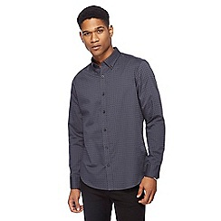 The Collection - Dark grey two tone spot print tailored shirt