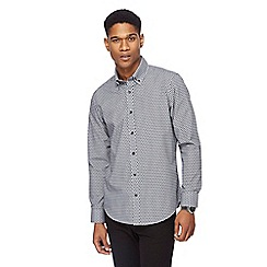The Collection - Grey textured spot tailored fit shirt