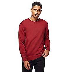 The Collection - Big and tall dark red lambswool-blend crew neck jumper